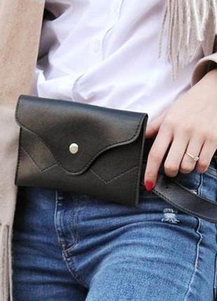 Поясная сумка-клатч молодежная женская на пояс маленькая черная бананка4 фото