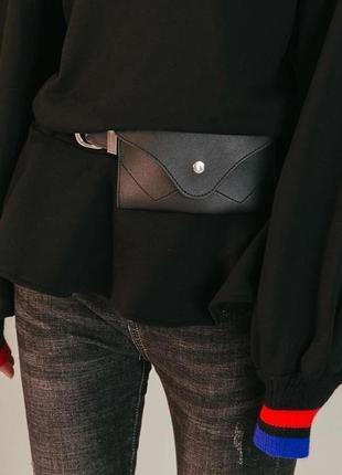 Поясная сумка-клатч молодежная женская на пояс маленькая черная бананка5 фото