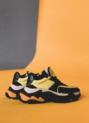 Кожаные женские кроссовки в черно-желтом цвете (весна-лето-осень)😍