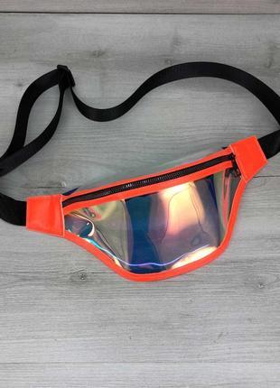 Голографическая оранжевая перламутровая прозрачная бананка пляжная