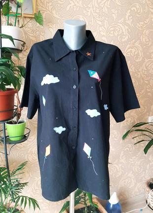 Неформальная винтажная хлопковая рубашка черная с нашивками bobbie