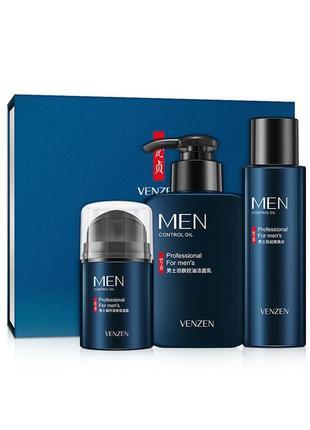 Набор косметики для мужчин venzen с контролем жирности кожи в подарочной упаковке
