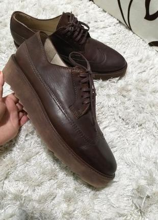 Крутые туфли оксфорды на толстой подошве marc o polo