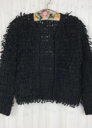 Черная пушистая вязаная кофта кардиган missguided