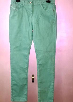 Эластичные узкие джинсы джеггинсы  на высокой посадке талии мятного цвета
