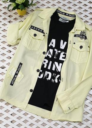 Комплект льняна рубашка +майка