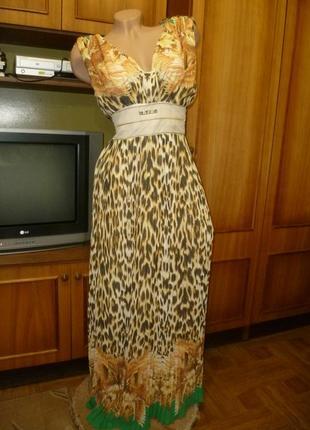 Красивое шифоновое летнее платье(сарафан)в пол длинное макси плиссированная юбка
