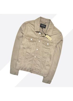 River island s /новая бежево-коричневая джинсовая куртка
