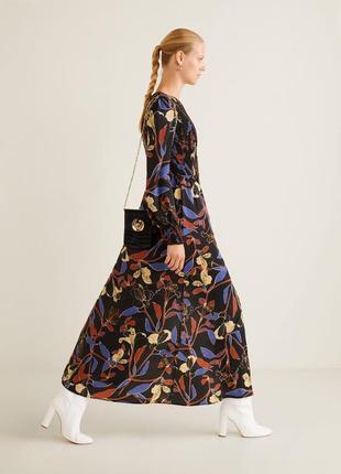 Шикарное длинное платье в пол с цветочным принтом mango, цветы, довга сукня з квітами