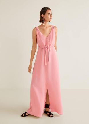 Шикарное длинное платье в пол изо льна, льняное платье mango, сукня максі з льону