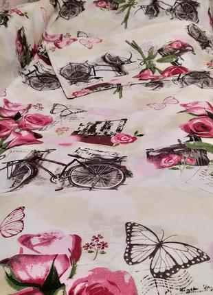 Полуторный пододеяльник - велосипеды с розами, все размеры, быстрая отправка