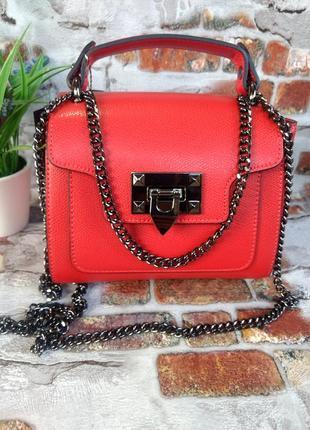 Женская кожаная сумочка на цепочке красная