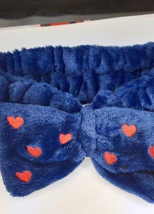 Плюшевая синяя повязка бантик в сердечках
