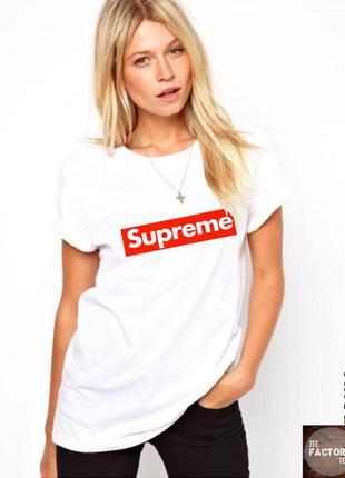Белая футболка supreme s m  8-10