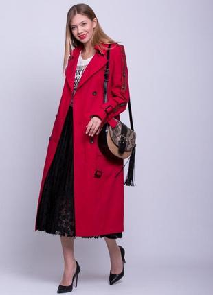 Шикарный женский длинный коттоновый красный плащ тренч с лампасами