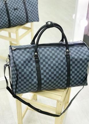 Стильная дорожная сумка синяя шашка