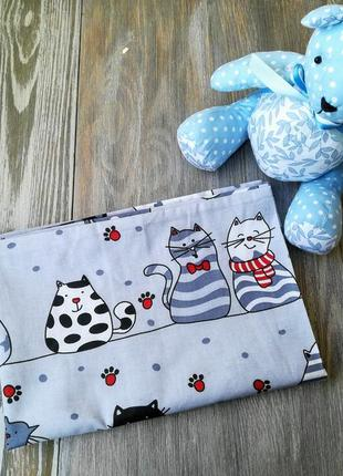 Наволочка кошки-мышки на сером фоне с запахом, на детскую подушку  60 *40 см
