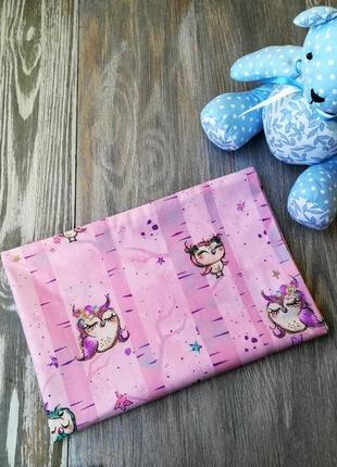 Наволочка совы на розовом фоне с запахом, на детскую подушку  60 *40 см