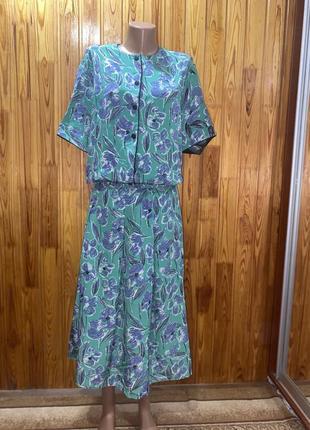Костюм,юбка ,цветочный принт,винтажный костюм,летний костюм