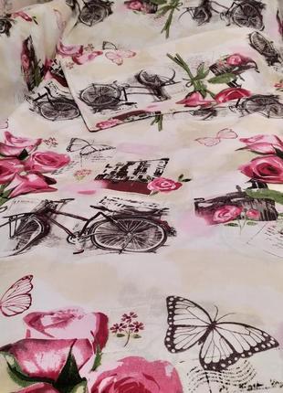 Евро простынь на резинке - велосипеды и розы, все размеры, быстрая отправка