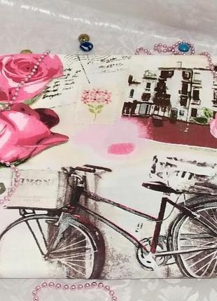 Полуторная простынь на резинке - велосипеды и розы, все размеры, быстрая отправка
