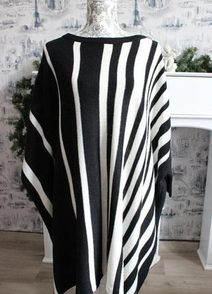 Черно - белый вязаный свитер пончо от rainbow