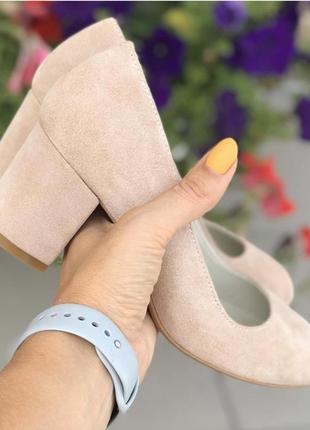 Туфли натуральные замшевые  натуральные на каблуке 6см