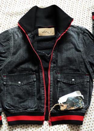 Джинсовая куртка-ветровка бомбер на молнии от vinci!! турция. s, демисезон