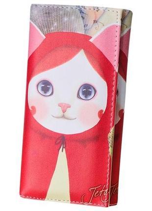 Новый длинный большой кошелек на магните с милой кошкой кошечкой, бумажник с котиком