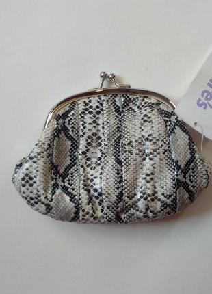 Актуальный лаковый кошелек монетница кожа рептилии змею питона кошелечек для мелочей