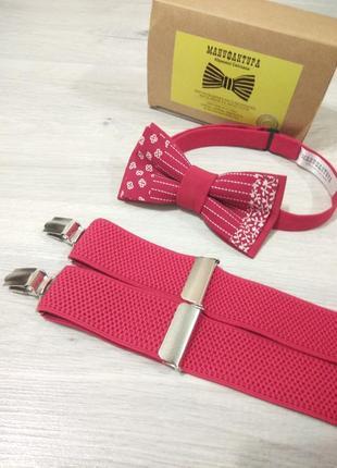 Оригинальный галстук бабочка в красном цвете. метелик.