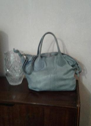 Натуральная кожаная серая сумка cate gray.