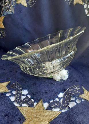 Фруктовница салатник ваза стеклянная ссср зос гусь хрустальный из цитринового стекла