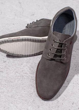Стильные серые мужские туфли на шнурках классические