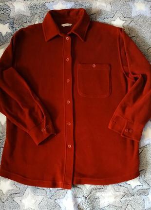Утепленая терракотовая рубашка, оверсайз