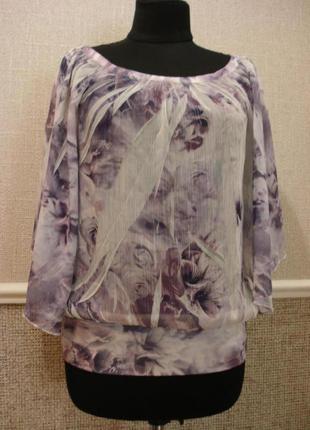 Летняя кофточка шифоновая блузка с рукавом 3\4 и цветочным принтом