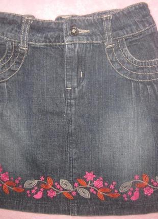 Юбка джинс с вышивкой