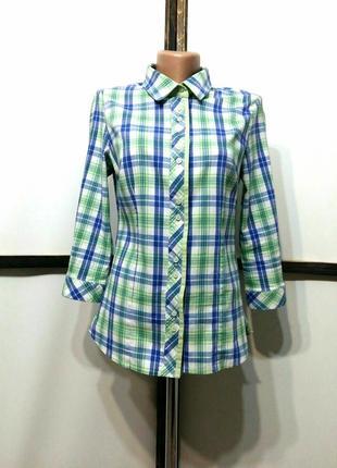 Винтажная рубашка блуза сорочка в клетку рукав 3/4 трансформер бренд emka