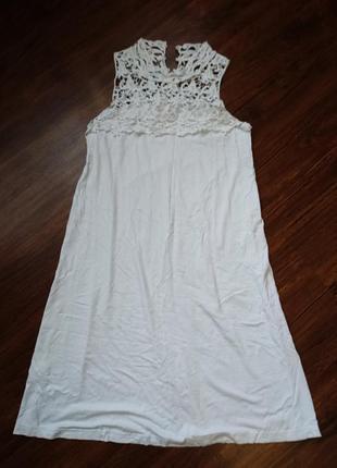 Нежное, белое, пляжное, летнее платье с ажурным верхом, размер m