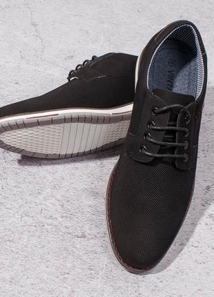 Стильные черные мужские туфли на шнурках модные классические