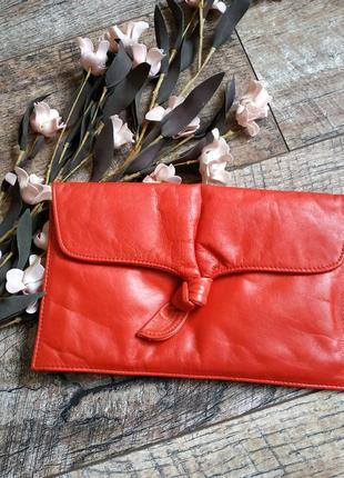 Красный кожаный клатч с велюровой подкладкой/ кожаный конверт