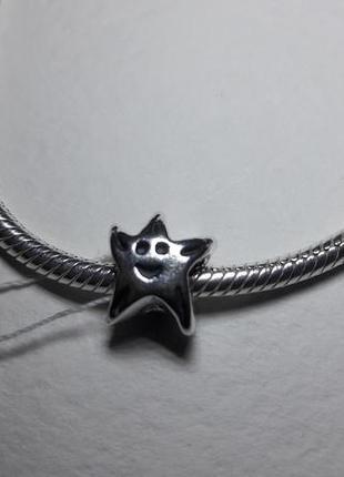 Серебряная бусина звездочка, на браслет pandora.