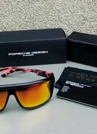 Porsche design очки мужские солнцезащитные с оранжевыми зеркальными линзами