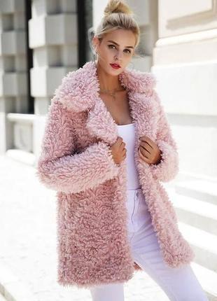 Шуба, искуственная, розовая, пудровая, короткая, рожева,