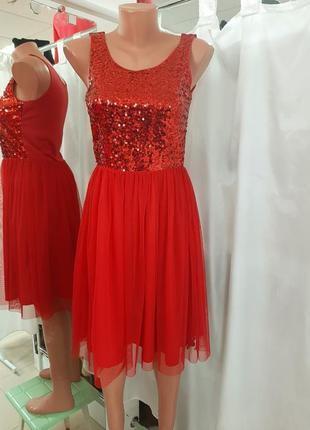 Красное платье паетка шифон h&m новогоднее