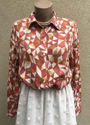 Винтаж,шелк блуза,рубашка в принт,patra,