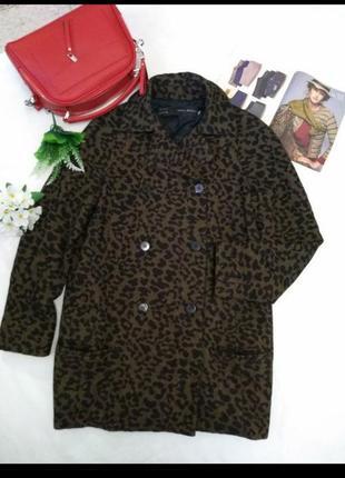 Двубортное пальто zara, кокон, реглан, оверсайз, на с,м, шерсть, леопардовый принт
