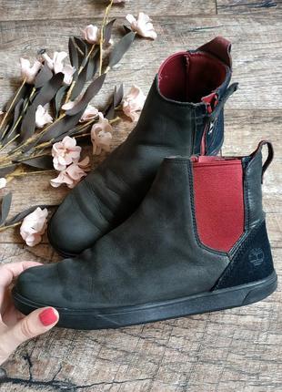 Демисезонные ботинки от timberland черные натуральный нубук,кожа-37р