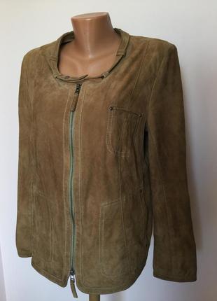 Мягкая замшевая французская курточка- бомбер/l/ brend elegance
