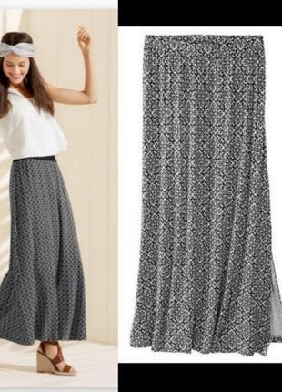 Макси юбка длинная в пол геометрический монохромный принт esmara
